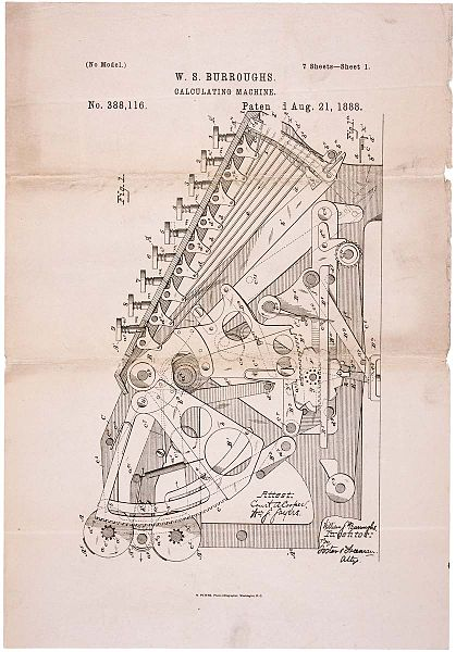 Patent drawing for Burroughs's calculating machine, 1888.