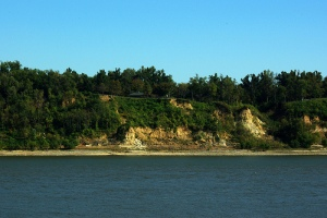 The bluffs of Columbus, Kentucky, viewed from Belmont.