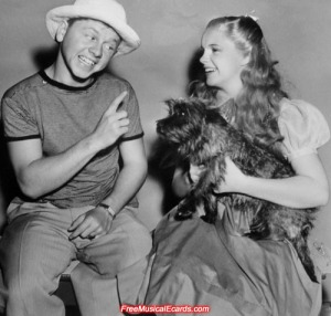 Judy Garland and Mickey Rooney on the set of The Wizard of Oz in October 1938, during director Richard Thorpe's two weeks on the job.