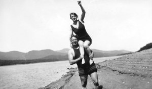 William Marston hoists aloft his bride, Elizabeth Holloway Marston, during a 1916 summer vacation in New Hampshire.