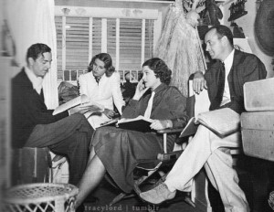Richard Thorpe oversees Powell, Florence Rice and Myrna Loy on the claustrophobic trailer set for Double Wedding.