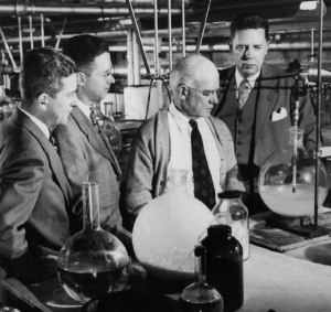 (left to right; Charles H. Slocumb, Howard F. Polley, Edward C. Kendall and Philip S. Hench in the laboratory where Kendall and Hench discovered cortisone)