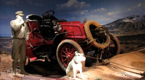 Exhibit at the National Museum of American History recreating H. Nelson Jackson first intercontinental automobile trip in a 1903 Winton touring car, the Vermont