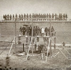Execution of Mary Surratt, Lewis Powell, David Herold, and George Atzerodt on July 7, 1865 at Fort McNair in Washington, D.C.