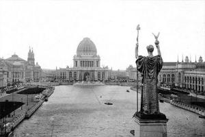 1893, Statue of the Republic, the colossal centerpiece of the World's Columbian Exposition