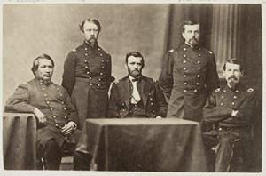 Feft to right; Ely Samuel Parker (1828-1895), Adam Badeau (1831-1895), General Ulysses S. Grant, Orville Elias Babcock (1835-1884), Horace Porter (1837-1921)
