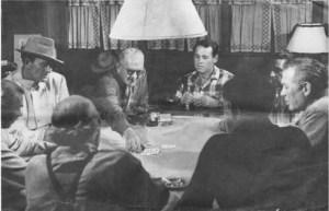 Ward Bond, John Wayne, John Ford, and Henry Fonda playing cards sometime around 1948.