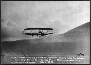The June Bug on its prize-winning historic flight with Curtiss at the controls