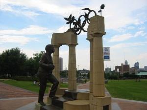 Statue of Pierre de Coubertin, Centennial Olympic Park, Atlanta, Georgia.