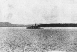 The USS Charleston entering Agana, the main port of Guam.