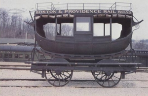 An example of an 1833 carriage-style railway car