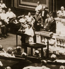 Jeannette Rankin making her first speech to the House of Representatives in August, 1917.