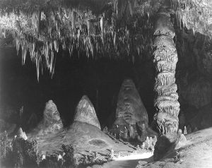 """The Big Room,"" two people in background. Carlsbad Caverns 1942, Ansel Adams"