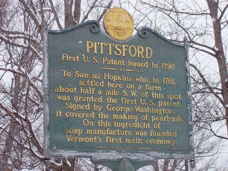 Plaque honoring Samuel Hopkins in Pittsford, Vermont