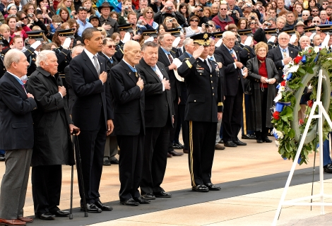 John Finn, second from left, standing to the right side of President Obama