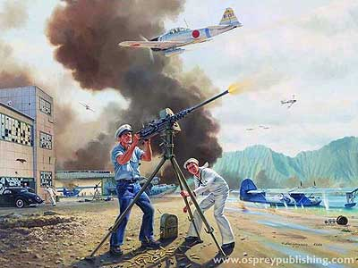 Painting of John Finn from Pearl Harbor 1941, Campaign 62, by Carl Smith © Osprey Publishing 2001
