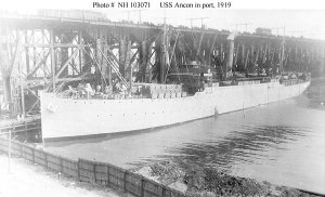 USS Ancon at port in 1919, while serving as a troop transport.