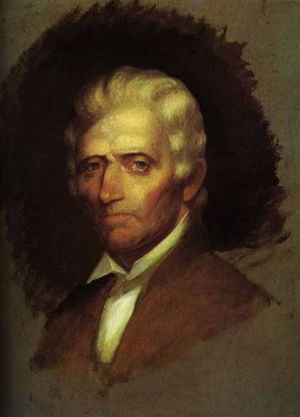 This 1820 oil painting by Chester Harding is the only portrait of Daniel Boone made during his life. Boone, then 85 years old and just months away from death, had to be steadied by a friend while the artist worked.