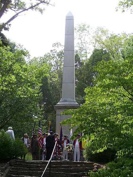 Monument at the Blue Licks Battlefield State Park, photographed in 2006 during a memorial service marking the 224th anniversary of the battle.