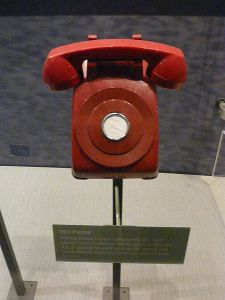 "A non-dial ""Red Phone"" from the time of President Jimmy Carter, which wasn't part of the hotline, but probably of the Defense Red Switch Network."