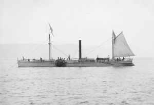 A 1909 replica of the North River Steamboat at anchor.