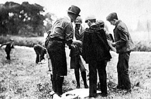 Robert Baden-Powell with his Scouts on Brownsea Island