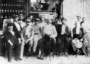 "A ""Brad's Drink Party"" enjoying Brad's Drink in Caleb's pharmacy in 1896. Image from the North Carolina Museum of History."