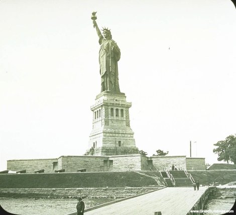 Statue of Liberty, by Frederic Bartholdi, at Liberty Island, New York, New York, 1886.  Photo by Library of Congress.