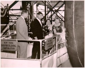 Christening of the NS Savannah by Mrs. Mamie Eisenhower, July 21, 1959. New York Shipbuilding Corporation, Camden, New Jersey.