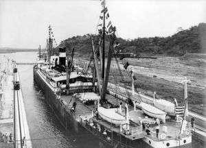 The Ancon entering the west chamber of the Panama Canal August 15, 1914