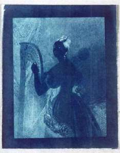 Sir John Hershels 1842 cyanotype 'Lady with Harp'