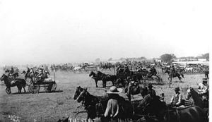 Start of 1893 land run. Photographer: A. A. Forbes. Robert E. Cunningham Oklahoma History Collection 2000.005.9.1872