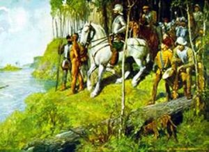 Hernando de Soto's first contact with Arkansas natives. Courtesy of the Arkansas History Commission.