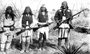 Geronimo (right) and his warriors in northern Mexico in 1886