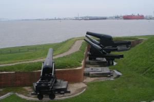 Fort McHenry looking towards the position of the British ships (with the Francis Scott Key Bridge in the distance on the upper left)