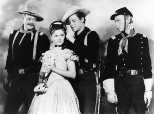 John Wayne, Joanne Dru, John Agar, and Ben Johnson in She Wore a Yellow Ribbon