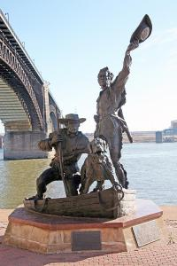 Statue of Lewis and Clark returning to St. Louis, St. Louis riverfront.