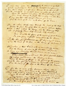 Scan of the earliest known copy of Francis Scott Key's original Manuscript. It is probably one of several drafts that Key made before sending the copy to the printer.
