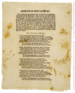 """Defence of Fort McHenry"" This is the first known printing of Key's poem, called a broadside, it was probably printed in Baltimore on Sept. 17, 1814."