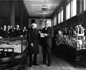 Charles Lewis Tiffany (left) in his store, about 1887