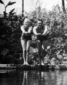 Virginia and husband John Gilbert in their backyard