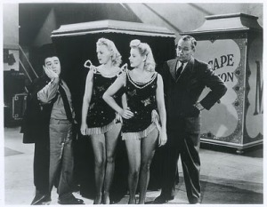 "Virginia with Abbott, Costello and Marie McDonald in ""Pardon My Sarong"" 1942"