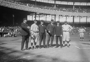 1921 World Series - Yankees player Roger Peckinpaugh, Giants player Dave Bancroft, and umpires at the Polo Grounds.