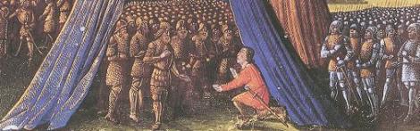 Balian of Ibelin surrendering the city of Jerusalem to Saladin, from Les Passages faits Outremer par les Français contre les Turcs et autres Sarrasins et Maures outremarins, c. 1490.