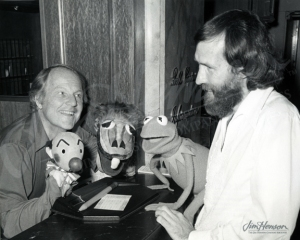Burr Tillstrom with Kukla and Ollie and Jim Henson with Kermit the Frog, 1977.