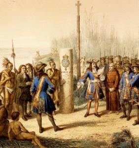 La Salle claiming Louisiana for France