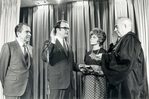 President Nixon and Warren Burger at William Ruckelshaus's swear-in on Dec. 4, 1970. Photo NARA, via U.S. EPA