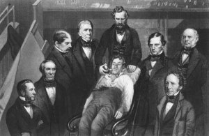 William T.G. Morton, making the first public demonstration of etherization surrounded by medical staff.