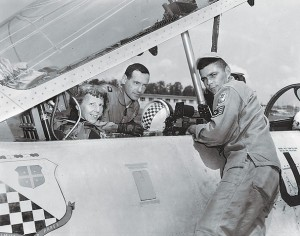 Evelyn sits in the cockpit of a T-33 jet trainer at the Knoxville McGhee Tyson Airport in 1957.