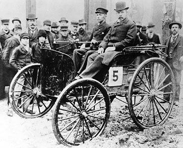 Frank Duryea (left) and Arthur Rice, at the first auto race in the United States Thanksgiving Day 1895